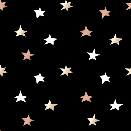 Black festive packaging paper with Christmas stars made of gold and bronze foil. Seamless vector pattern.