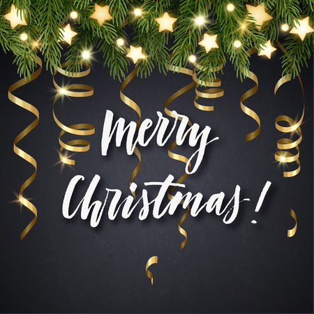bright: Christmas background with fir tree branches, glowing stars, light bulb garland, gold serpentines and hand lettering. Vector illustration. Illustration