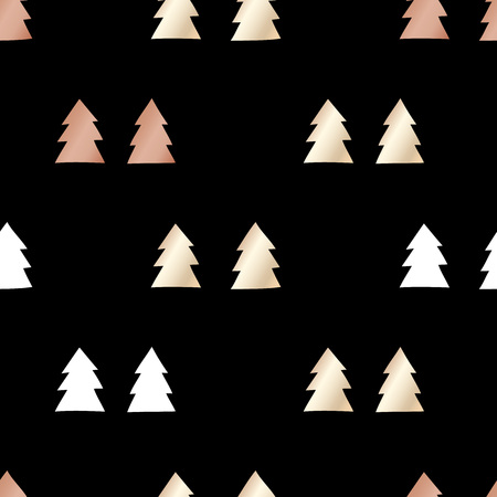 Black festive packaging paper with Christmas trees made of gold and bronze foil. Seamless vector pattern.