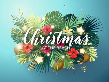 여름에 크리스마스 monsta 야자수 잎, 히 비 스커 스 꽃, 크리스마스 공 및 골드 빛나는 별, 벡터 일러스트와 함께 해변 디자인.