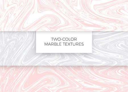 Set of light pink and gray marble textures. Vector backgrounds.