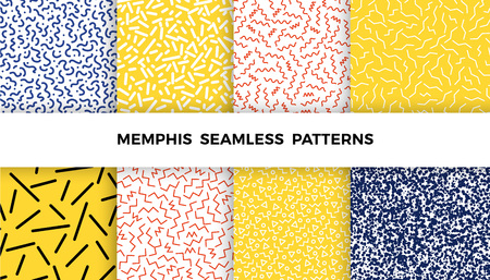 Set of bright geometric memphis patterns with wavy lines, triangles, circles, zig zags. 80s and 90s graphic design style. Vector seamless backgrounds. 向量圖像