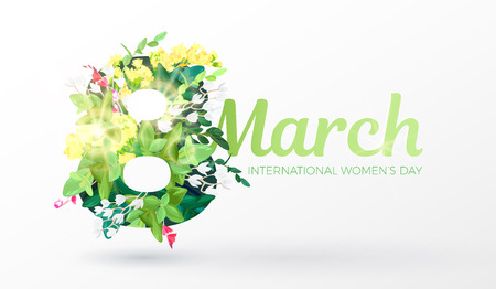 Womens day design with an ornament of realistic flowers, branches, leaves and forest plants. Spring decorative element for the March 8. Vector illustration.