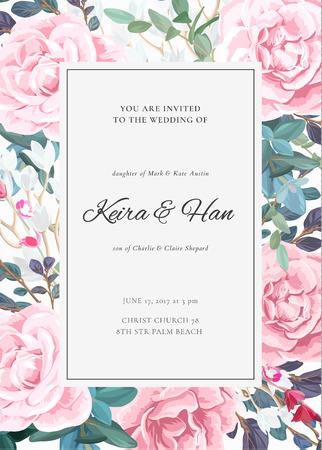 The classic design of a wedding invitation with flowering roses, plants, white flowers and leaves. Elegant vertical card template. Vector illustration. Illustration