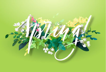 Bright spring design with a botanical bouquet of flowers, leaves and plant branches on a green background. Lettering with the effect of 3d.