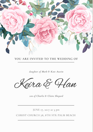 The classic design of a wedding invitation with flowering roses, plants, white flowers and leaves. Pastel color floral border. Elegant vertical card template. Vector illustration.