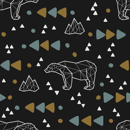 Seamless tribal pattern with low poly polar bears and triangles.