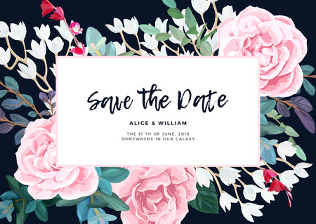 Floral wedding invitation design with pale pink roses on the dark background. Romantic vector design.
