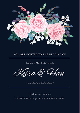 Modern wedding invitation with a bouquet of roses, leaves and spring plants. Elegant vertical card template. Vector illustration. Ilustração