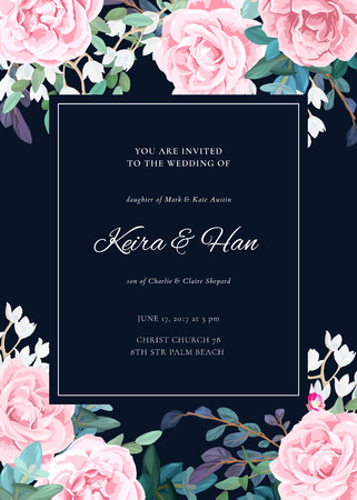 Botanical wedding invitation design with pale roses, succulents, eucaliptus flowers and green leaves on white backround. Floral bouquet decoration. Vector illustration.