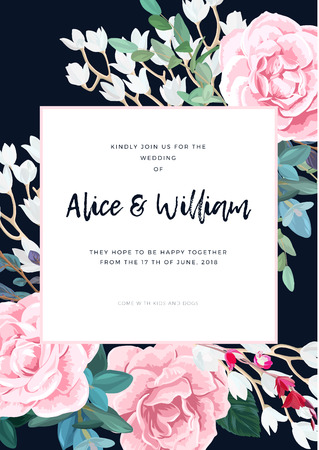 Dark wedding design with pink roses, eucaliptus branches and white flowers. Refined reception card design. Vector illustration. Illustration