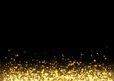 Gold glitter texture. Irregular confetti border on a black background. Christmas or party flyer design element. Vector illustration.