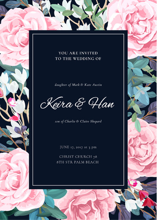 The classic design of a wedding invitation with a border of lowering roses, plants, white flowers and leaves.