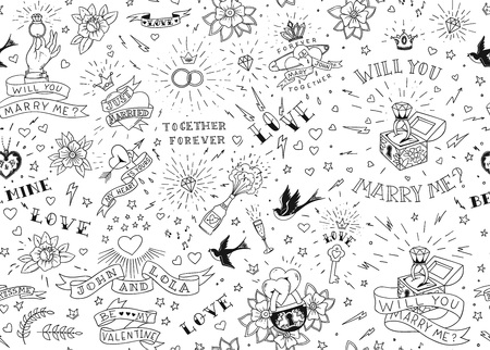 Old school tattoos seamless pattern with birds, flowers, roses and hearts. Illustration