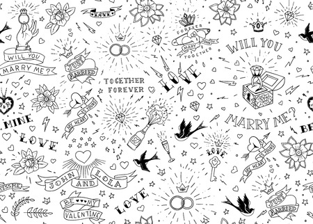 Old school tattoos seamless pattern with birds, flowers, roses and hearts. Love and wedding theme. Black and white traditional tattoo design. Vector illustration.