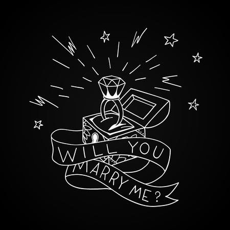 Dead man chest whit a wedding rind with diamond and shiny crown. Will you marry me design in traditional tattoo style. Vector illustration. Illustration