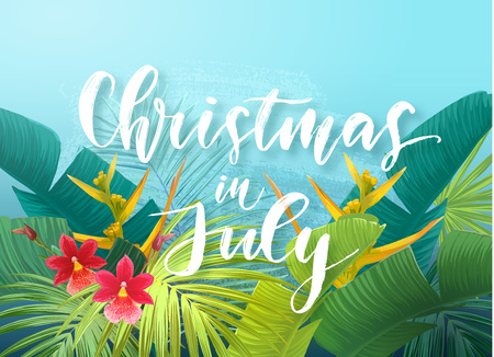 Christmas in July sale design with tropical royal palm leaves, exotic flowers and handlettering. Summer vector illustration.