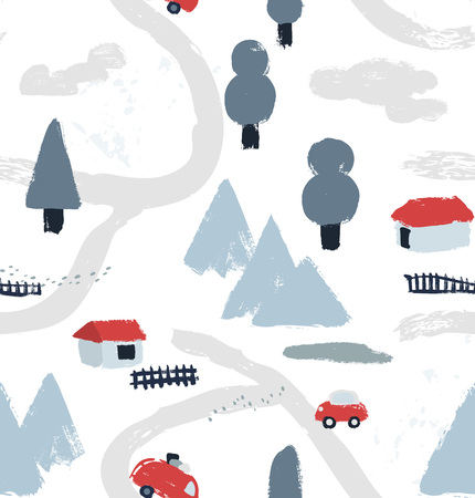 Hand drawn textured winter pattern with little houses, roads, mountains and trees. Village map view. Vector illustration.
