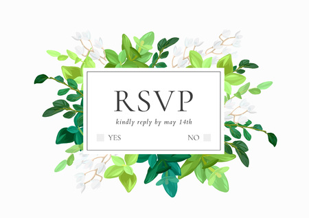 Floral wedding invitation or save the date card with green leaves, succulents, eucalyptus and white may flowers. Vector illustration. Ilustração
