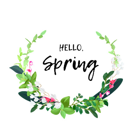 Floral spring wreath design with white and pink flowers, green leaves, eucaliptus and succulents. Vector bouquet illustration.