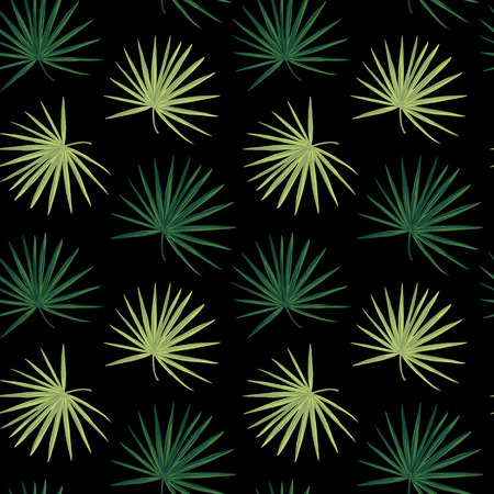 Dark tropical background with jungle plants. Seamless vector tropical pattern with green palm leaves.