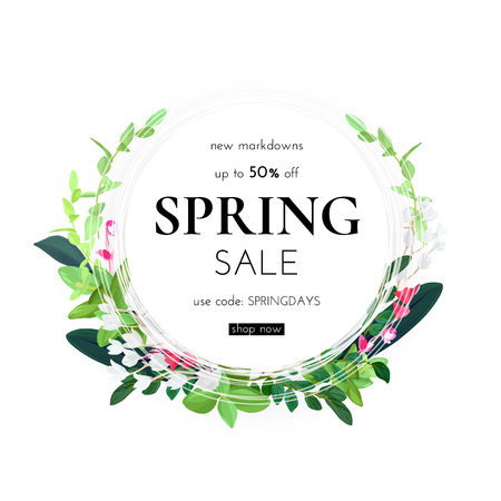 Floral spring design with white flowers, green leaves, eucaliptus and succulents. Round shape with space for text. Banner or flyer sale template, vector illustration. Vecteurs