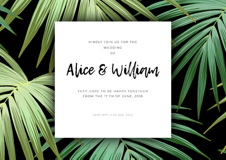 Floral wedding invitation with guzmania flowers, monstera and royal palm leaves. Exotic hawaiian background. Vector illustration.