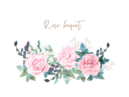 Decorative horizontal garland composition of pale roses, white spring flowers, eucalyptus and succulents. Light floral bouquet for wedding invitations and romantic cards. Hand drawn vector illustration.