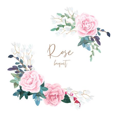 Composición de esquina decorativa de rosas pálidas, flores blancas de primavera, eucaliptos y suculentas. Ramo floral ligero para invitaciones de boda y tarjetas románticas. Ilustración de vector dibujado a mano. Ilustración de vector