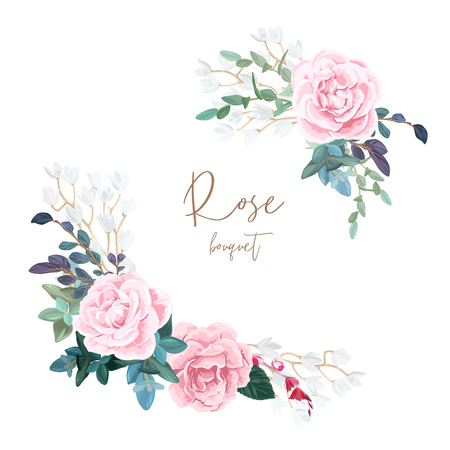 Decorative corner composition of pale roses, white spring flowers, eucalyptus and succulents. Light floral bouquet for wedding invitations and romantic cards. Hand drawn vector illustration.