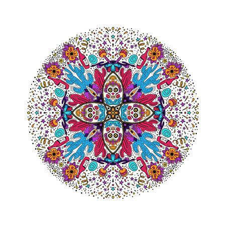 Dia de los Muertos Day of the Dead vector illustration. Round design for card, banner or flyer with sugar skull and floral elements. Ilustração