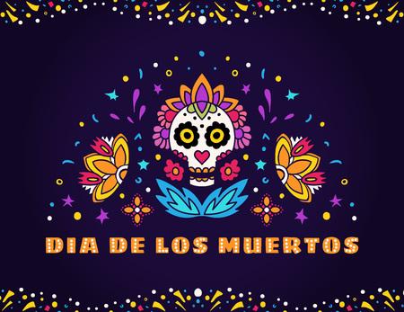 Dia de los Muertos Day of the Dead vector illustration. Design for banner or party flyer with sugar skull, flowers and decorative border. Ilustração