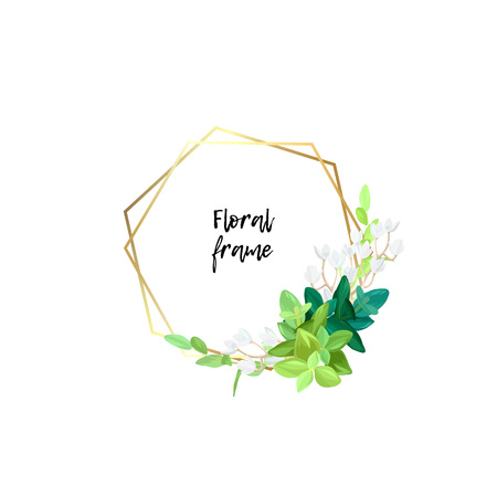 Hexagonal gold frame with white flowers, eucalyptus leaves and succulent plants. Modern minimalistic vector design. Ilustrace