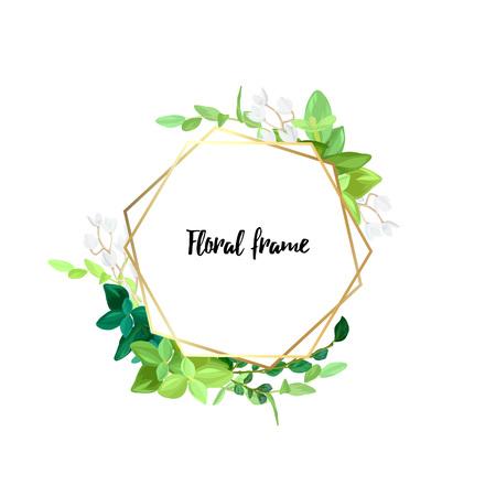 Hexagonal gold frame with white flowers, eucalyptus leaves and succulent plants. Modern minimalistic vector design. Çizim