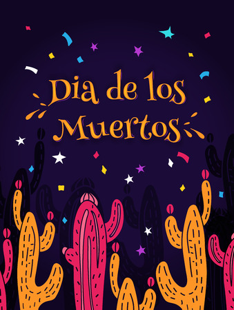 Dia de los Muertos Day of the Dead vector illustration. Design with cacti and lettering for banner, card or party flyer.