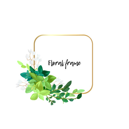 Square gold frame with white flowers, eucalyptus leaves and succulent plants. Modern minimalistic vector design.