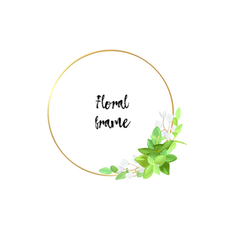 Round metallic gold frame with white flowers, eucalyptus leaves and succulent plants. Modern minimalistic vector design.