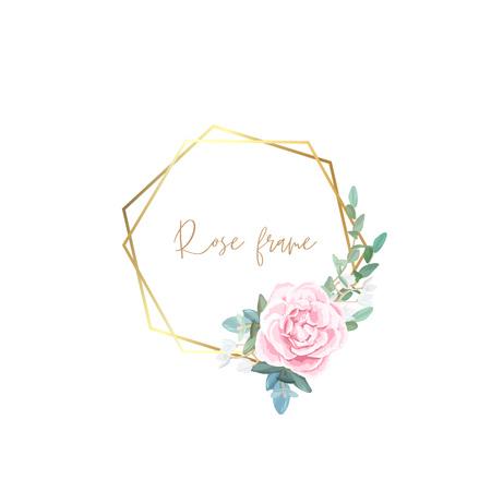 Cadre doré avec roses pâles, feuilles d'eucalyptus et plantes succulentes. Conception vectorielle minimaliste moderne.