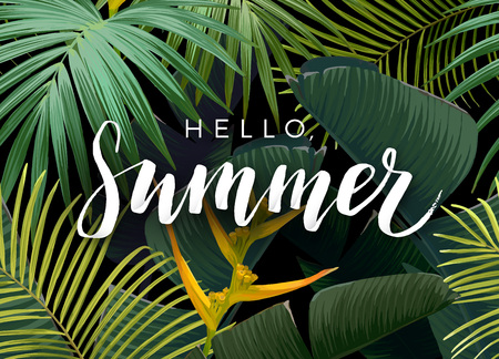 Summer tropical vector design with exotic dark green palm leaves and handlettering on the dark background. Vector illustration.