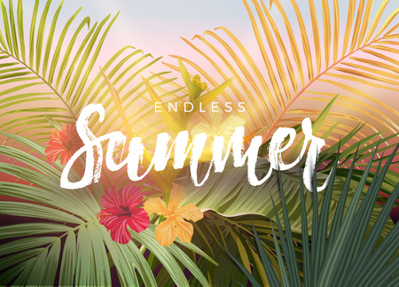 Summer tropical design for banner or flyer with dark green tropical palm leaves and handlettering. Vector illustration.