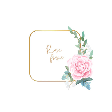 Gold frame with pale roses, eucalyptus leaves and succulent plants. Modern minimalistic vector design.