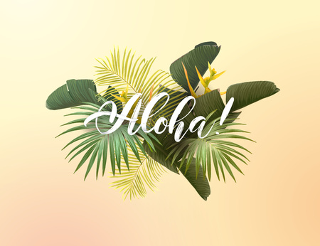 Summer tropical vector design for poster, banner or advertisment with exotic green palm leaves, flowers and handlettering on the bright background. Ilustração