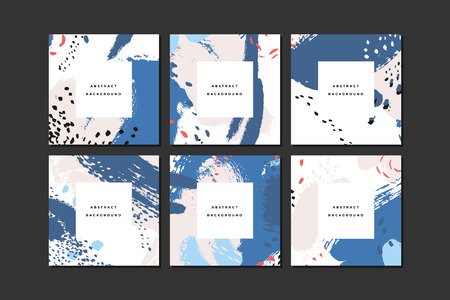 Set of colorful square hand drawn abstract backgrounds with artistic brush strokes and paint stains. Vector design for card, banner or social media post.