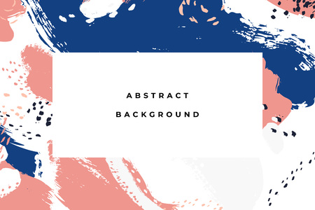 Colorful bright hand drawn abstract background with artistic brush strokes and paint stains. Vector design for card, banner or social media post. Ilustração