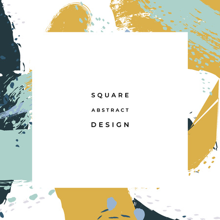 Hand drawn abstract background with artistic brush strokes and paint stains. Vector design for card, banner or social media post. Ilustração