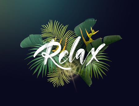 Summer tropical vector design with exotic green palm leaves, flowers and handlettering on the dark background. Ilustração