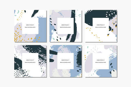 Set of pastel square hand drawn abstract backgrounds with artistic brush strokes and paint stains. Vector design for card, banner or social media post. Ilustração