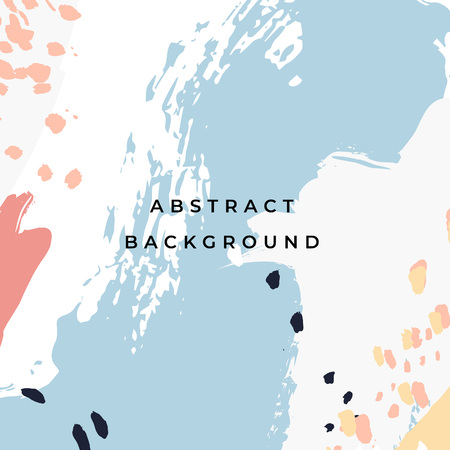 Square hand drawn abstract background with artistic brush strokes and paint stains. Vector design for card, banner or social media post.