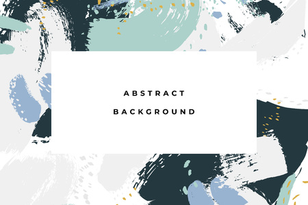 Hand drawn abstract background with artistic brush strokes and paint stains. Vector design for card, banner or social media post. 矢量图像