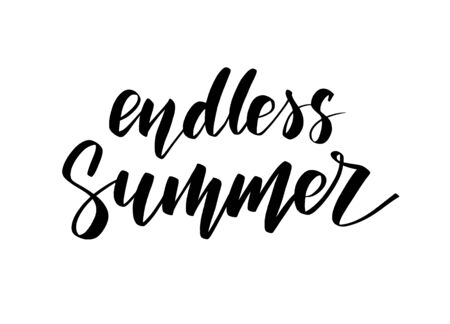 Vector black and white hand drawn inscription Endless Summer.